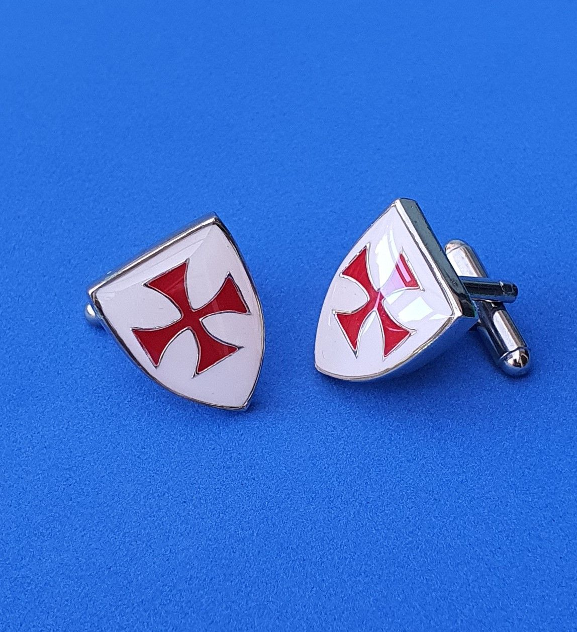 Knights Templar Shield Cufflinks - Enamelled - CL0758